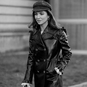 Leather newsboy cap hat